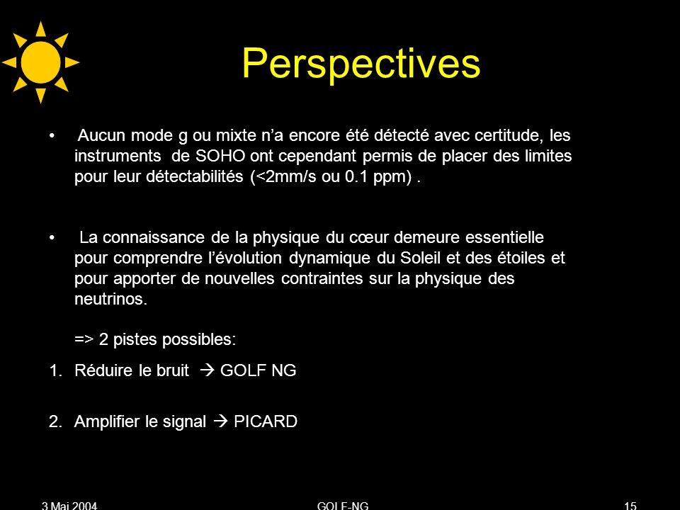 3 Mai 2004GOLF-NG15 Perspectives Aucun mode g ou mixte na encore été détecté avec certitude, les instruments de SOHO ont cependant permis de placer des limites pour leur détectabilités (<2mm/s ou 0.1 ppm).