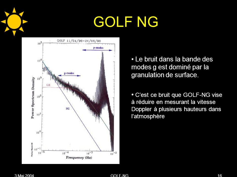3 Mai 2004GOLF-NG16 GOLF NG Le bruit dans la bande des modes g est dominé par la granulation de surface.