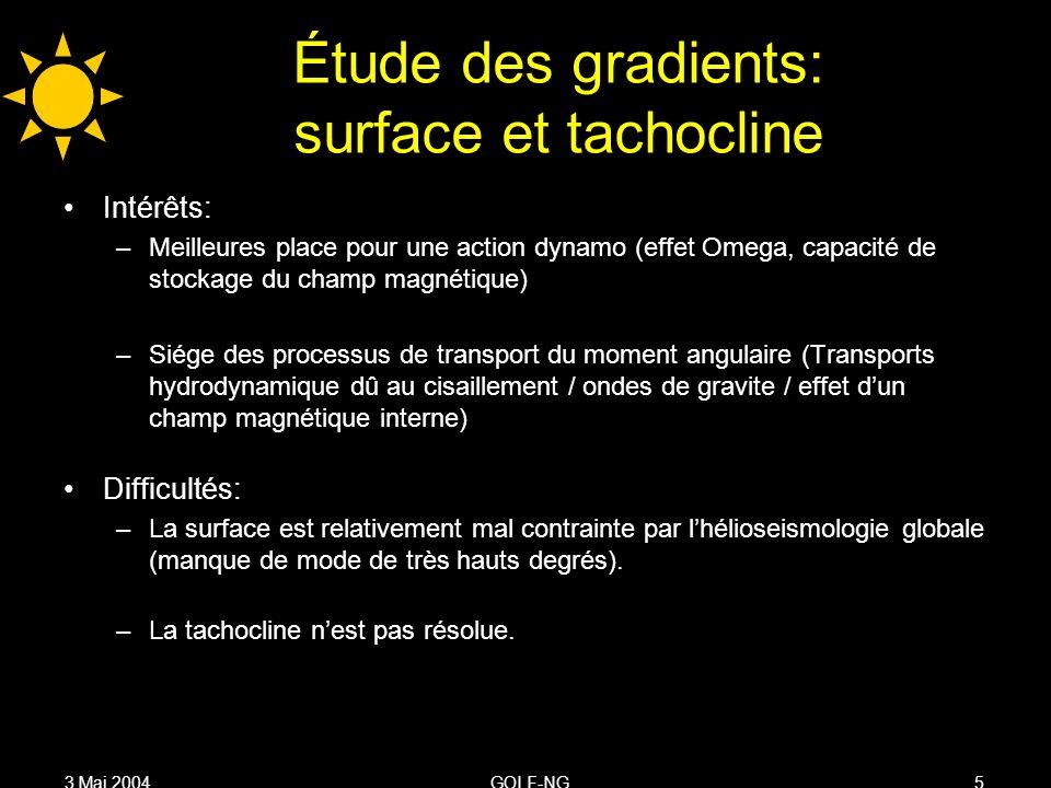 3 Mai 2004GOLF-NG5 Étude des gradients: surface et tachocline Intérêts: –Meilleures place pour une action dynamo (effet Omega, capacité de stockage du champ magnétique) –Siége des processus de transport du moment angulaire (Transports hydrodynamique dû au cisaillement / ondes de gravite / effet dun champ magnétique interne) Difficultés: –La surface est relativement mal contrainte par lhélioseismologie globale (manque de mode de très hauts degrés).