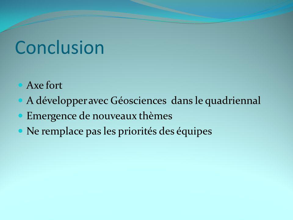 Conclusion Axe fort A développer avec Géosciences dans le quadriennal Emergence de nouveaux thèmes Ne remplace pas les priorités des équipes
