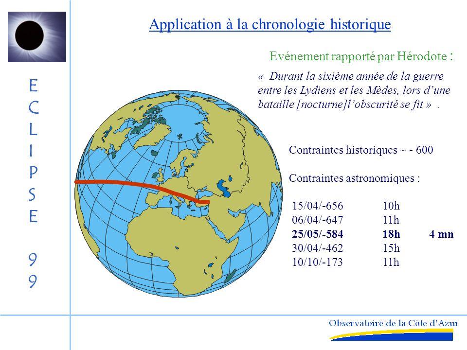 ECLIPSE99ECLIPSE99 Date -1000 10000 10000 1000 100 T (s) 2000 Histoire de la Rotation de la Terre