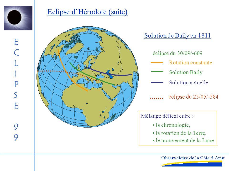 ECLIPSE99ECLIPSE99 Application à la chronologie historique Evénement rapporté par Hérodote : « Durant la sixième année de la guerre entre les Lydiens et les Mèdes, lors dune bataille [nocturne]lobscurité se fit ».