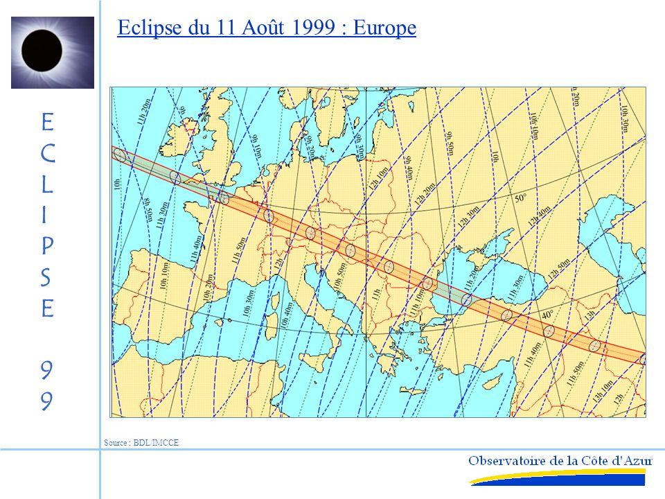 ECLIPSE99ECLIPSE99 10h30 TU lat : 49° long : 8° Est mag < 2.5 Source : F.