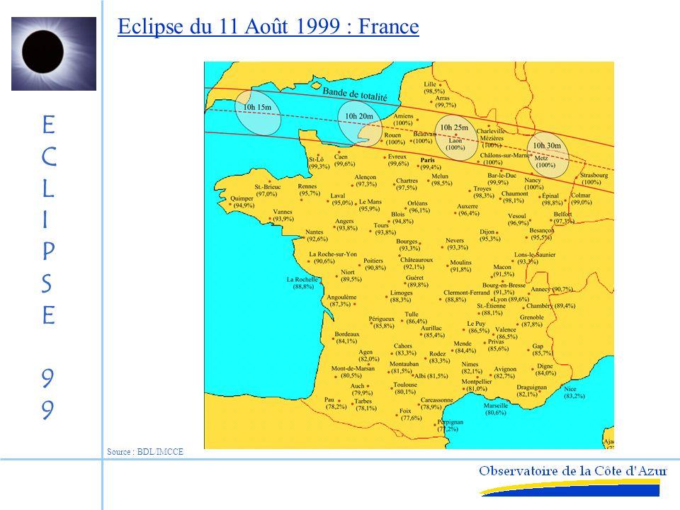 ECLIPSE99ECLIPSE99 Eclipse du 11 Août 1999 : Europe Source : BDL/IMCCE