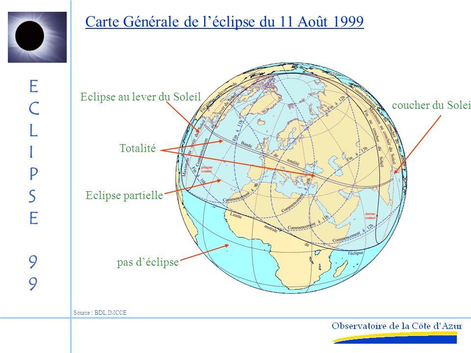 ECLIPSE99ECLIPSE99 Lune Cône dombre Pénombre Nuit pas déclipse Eclipse partielle Eclipse totale Eclipse totale du 11 Août 1999 Géométrie à 10h30 TU Déplacement vers lest Ombre de 120 km Source : BDL/IMCCE