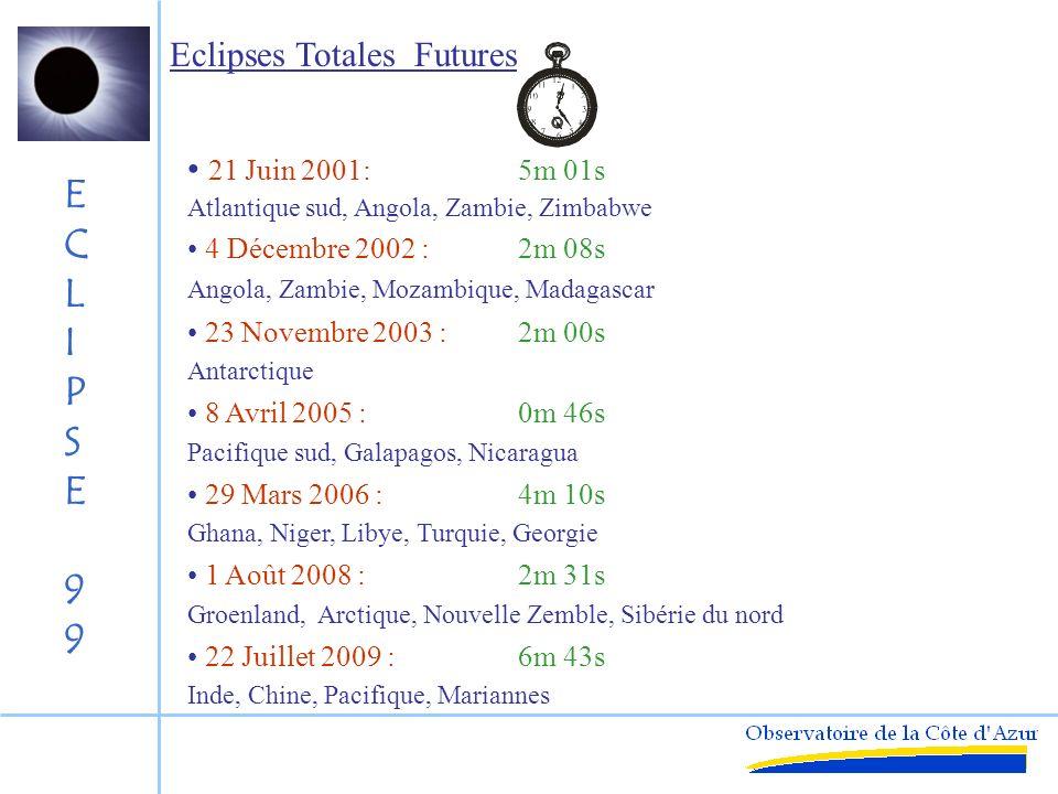 ECLIPSE99ECLIPSE99 Eclipses Totales Récentes 26 Février 1998 : 4m 14s Marquises, Galapagos, Panama, Antilles 9 mars 1997 : 2m 54s Sibérie du nord 24 Octobre 1995 : 2m 15s Iran, Inde, Thailande, Malaisie, Indonésie 3 Novembre 1994 : 4m 27s Pérou, Bolivie, Brésil, Atlantique sud 30 Juin 1992 : 5m 27s Uruguay, Atlantique sud, Angola 11 Juillet 1991 : 6m 58s Hawaï, Mexique, Equateur 22 Juillet 1990 : 2m 36s Finlande, Sibérie du nord, Alaska