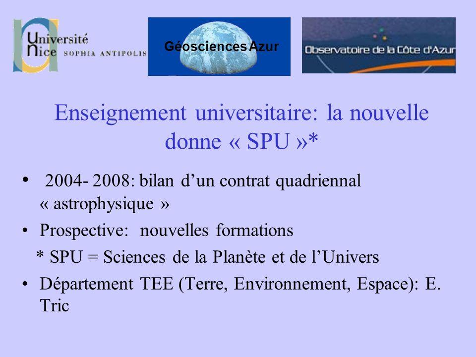 Enseignement universitaire: la nouvelle donne « SPU »* 2004- 2008: bilan dun contrat quadriennal « astrophysique » Prospective: nouvelles formations *