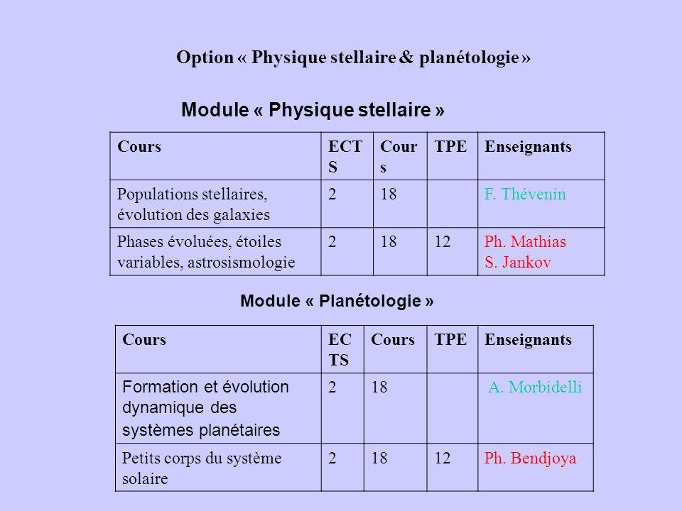 Option « Physique stellaire & planétologie » CoursECT S Cour s TPEEnseignants Populations stellaires, évolution des galaxies 218F. Thévenin Phases évo