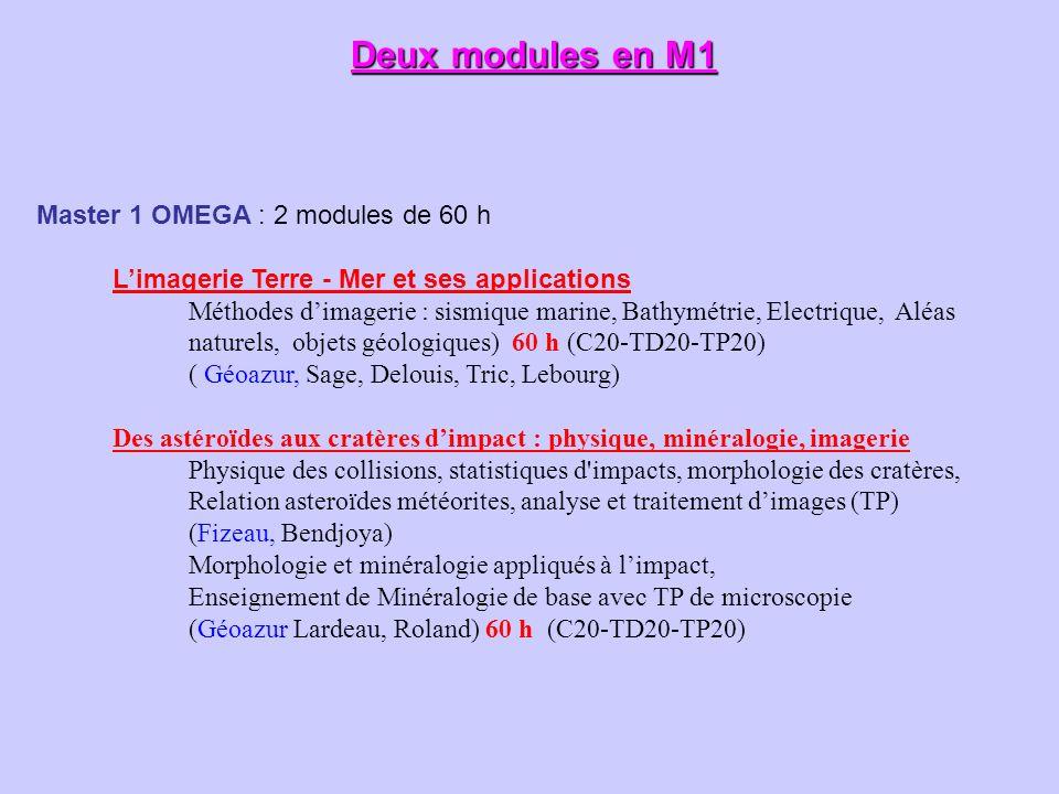 Deux modules en M1 Master 1 OMEGA : 2 modules de 60 h Limagerie Terre - Mer et ses applications Méthodes dimagerie : sismique marine, Bathymétrie, Ele