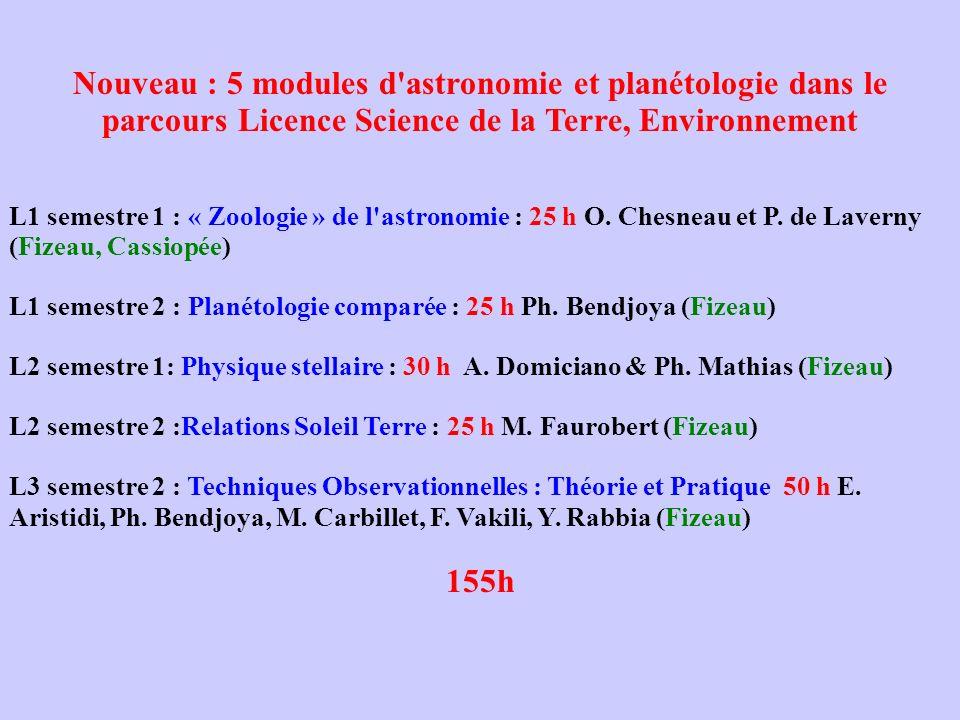Nouveau : 5 modules d'astronomie et planétologie dans le parcours Licence Science de la Terre, Environnement L1 semestre 1 : « Zoologie » de l'astrono