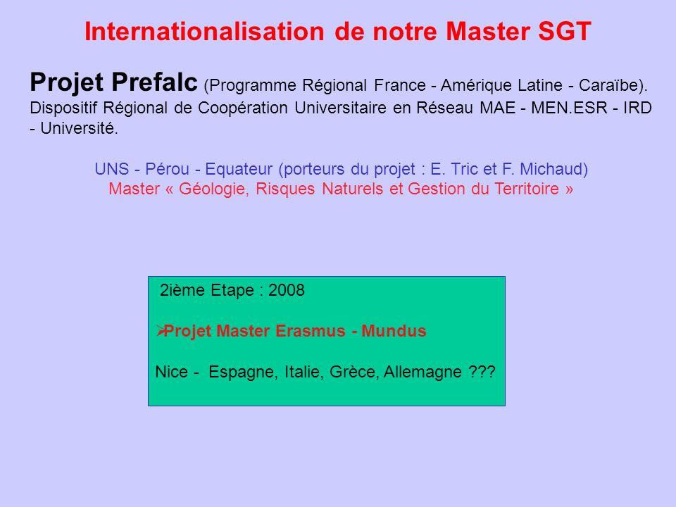 Internationalisation de notre Master SGT 2ième Etape : 2008 Projet Master Erasmus - Mundus Nice - Espagne, Italie, Grèce, Allemagne ??? Projet Prefalc