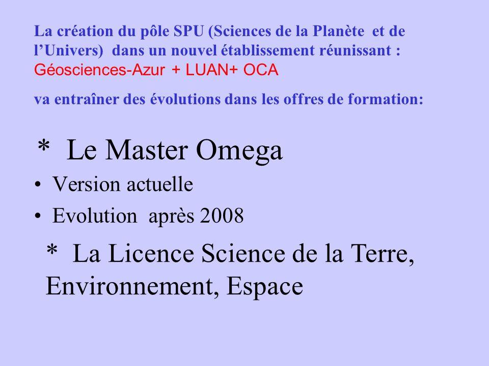 * Le Master Omega Version actuelle Evolution après 2008 * La Licence Science de la Terre, Environnement, Espace La création du pôle SPU (Sciences de l