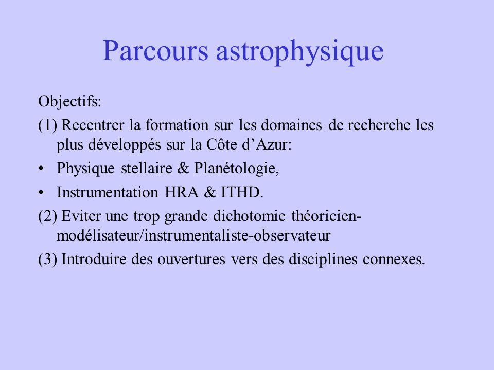 Parcours astrophysique Objectifs: (1) Recentrer la formation sur les domaines de recherche les plus développés sur la Côte dAzur: Physique stellaire &
