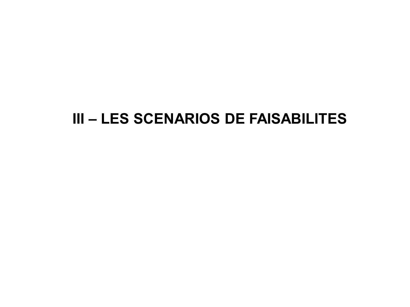 III – LES SCENARIOS DE FAISABILITES