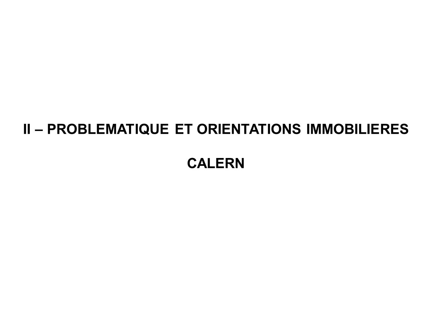 II – PROBLEMATIQUE ET ORIENTATIONS IMMOBILIERES CALERN