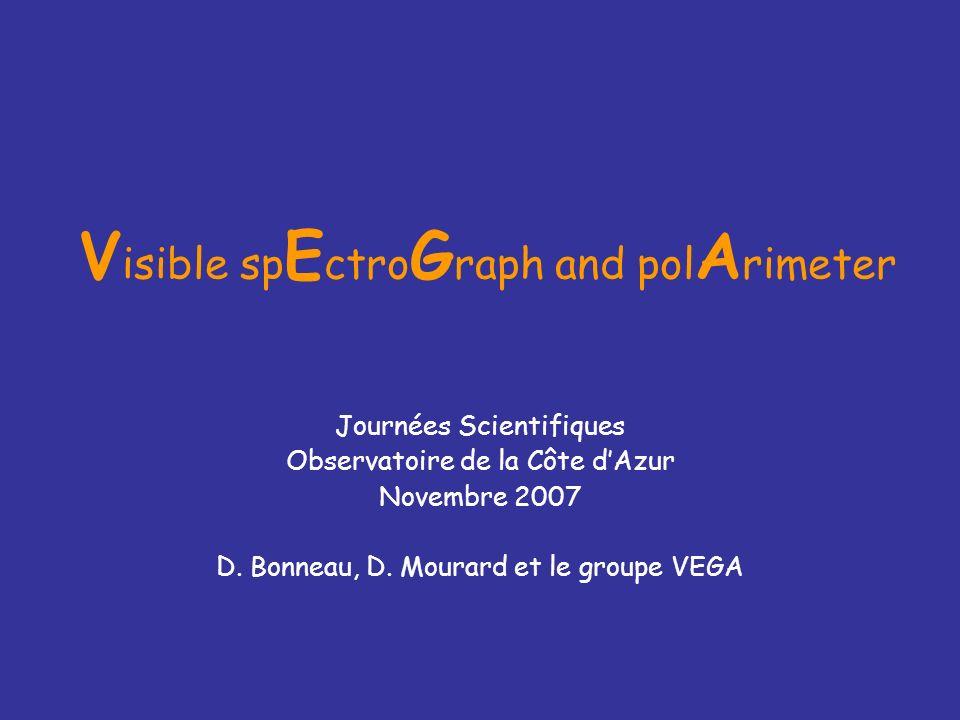 V isible sp E ctro G raph and pol A rimeter Journées Scientifiques Observatoire de la Côte dAzur Novembre 2007 D. Bonneau, D. Mourard et le groupe VEG