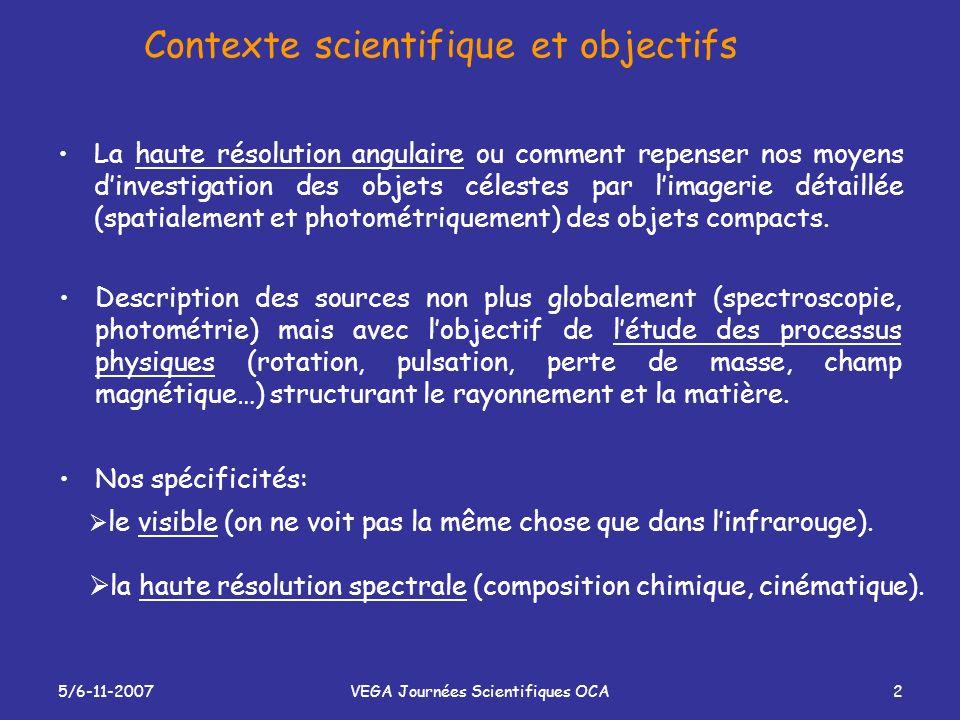 5/6-11-2007VEGA Journées Scientifiques OCA3 Nos programmes scientifiques prioritaires Vent coronal/disque dans les étoiles HAe/Be star: AB Aur… Formation des disques: Sco et monitoring long terme.