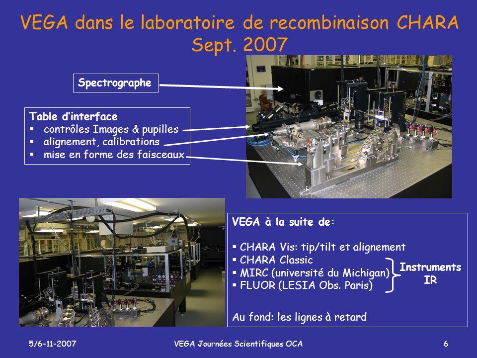 5/6-11-2007VEGA Journées Scientifiques OCA6 VEGA dans le laboratoire de recombinaison CHARA Sept. 2007 SpectrographeTable dinterface contrôles Images