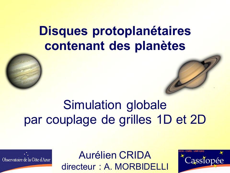 Disques protoplanétaires contenant des planètes Simulation globale par couplage de grilles 1D et 2D Aurélien CRIDA directeur : A.