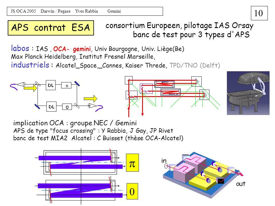 9 JS OCA 2005 Darwin / Pegase Yves Rabbia Gemini contraintes ( défis ) techniques interferometrie : vol en formation controler positions des telescope