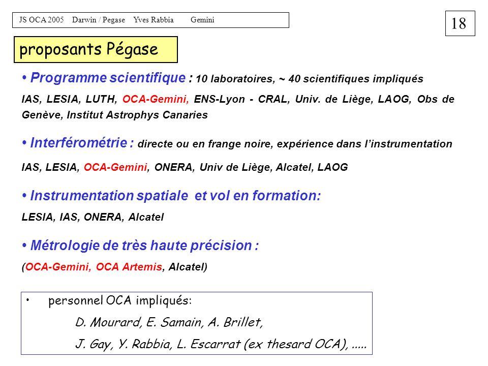17 JS OCA 2005 Darwin / Pegase Yves Rabbia Gemini Micro-sat = Myriade, 125 kg (engines + siderostat) Mini-sat = Proteus, 500 kg (engines + collecting