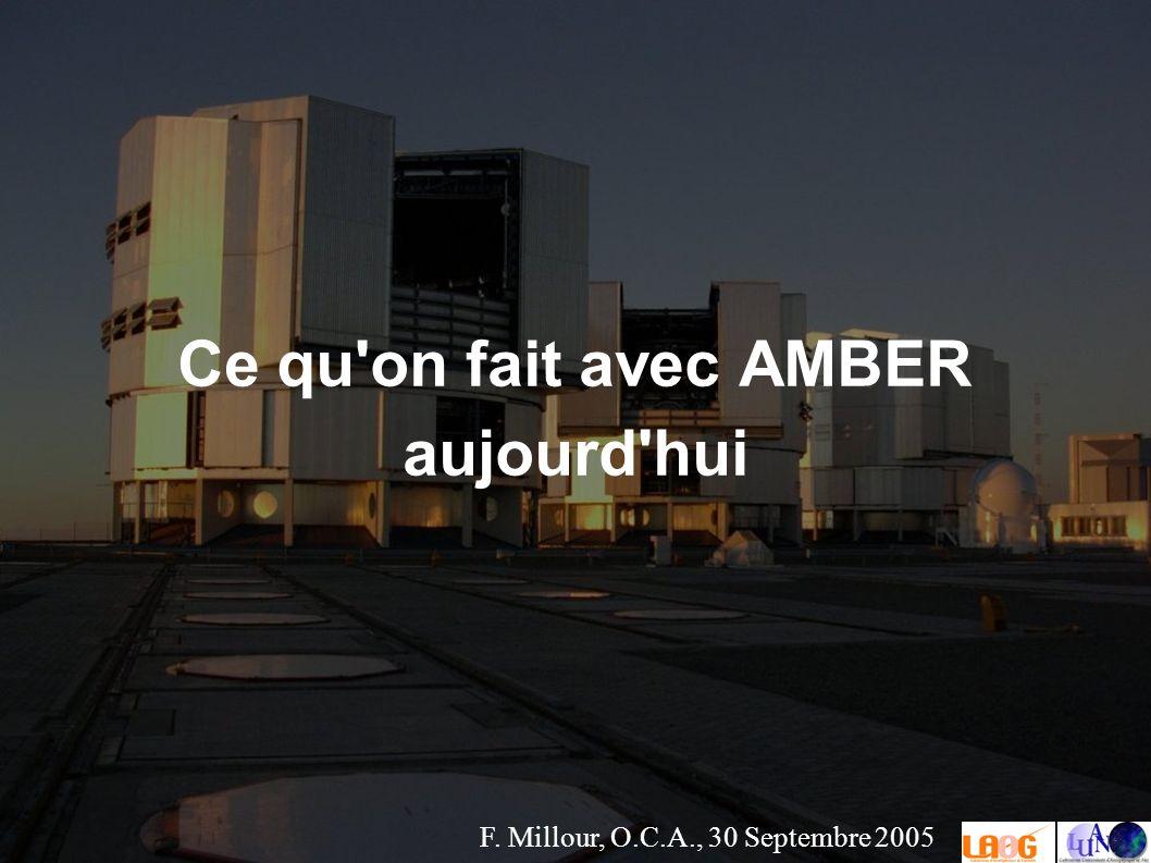F. Millour, O.C.A., 30 Septembre 2005 Ce qu on fait avec AMBER aujourd hui