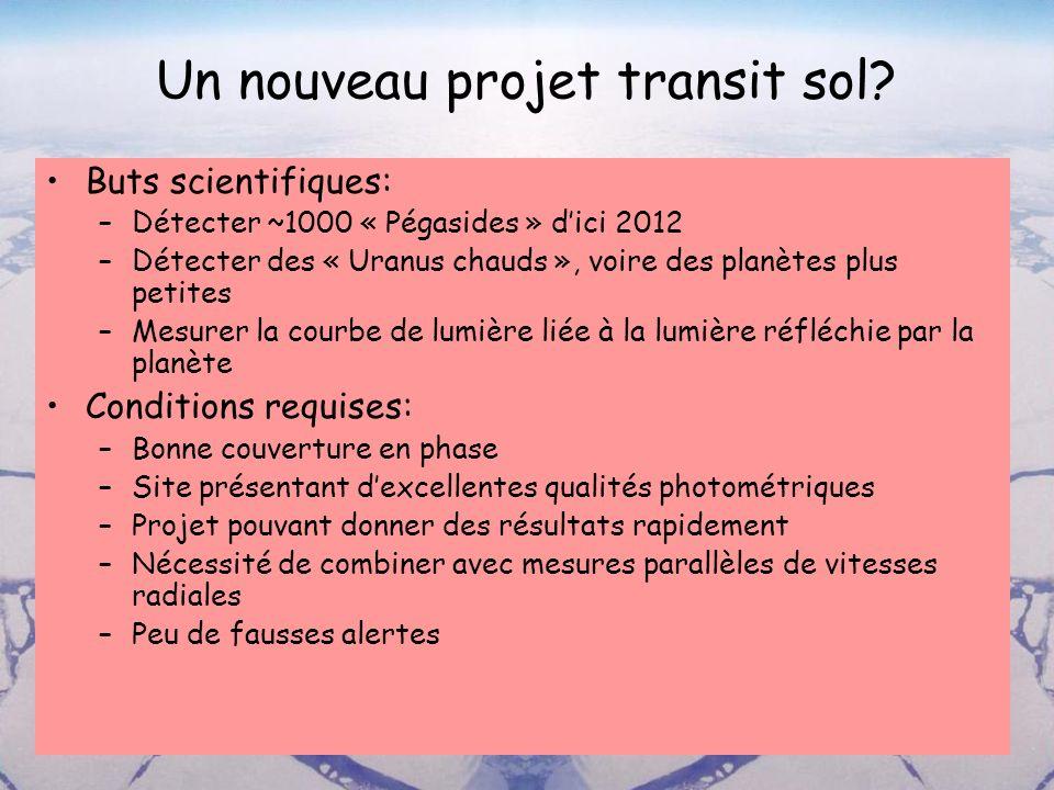 Un nouveau projet transit sol? Buts scientifiques: –Détecter ~1000 « Pégasides » dici 2012 –Détecter des « Uranus chauds », voire des planètes plus pe