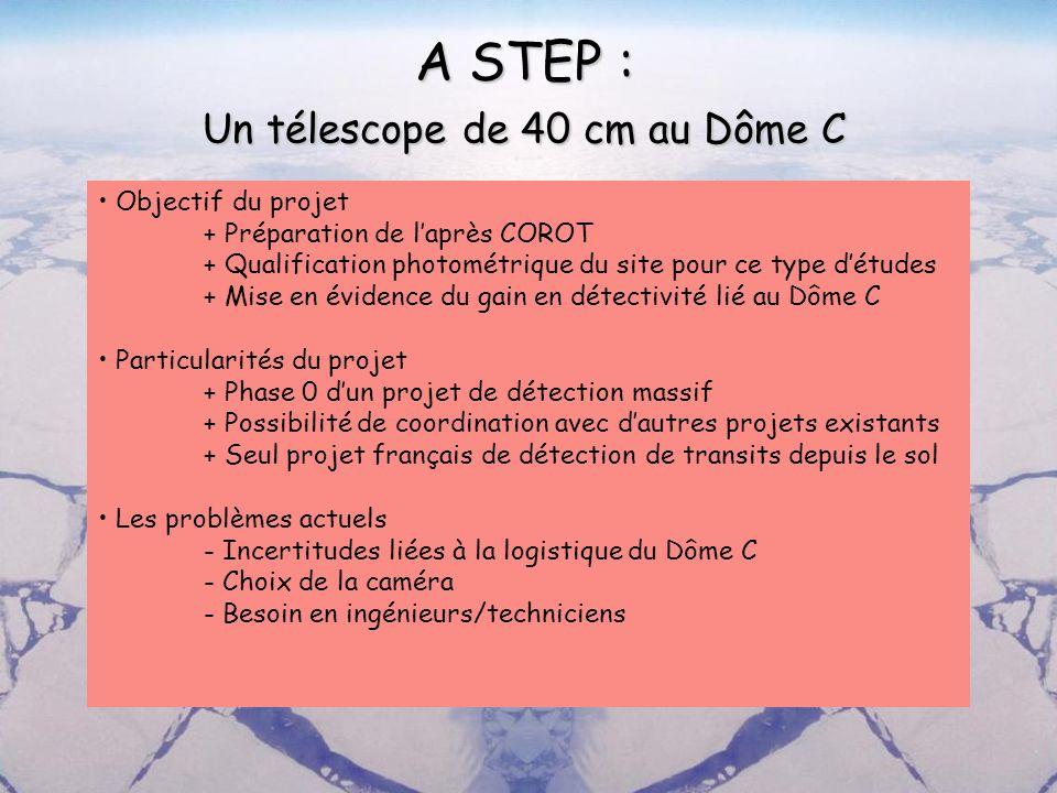A STEP : Un télescope de 40 cm au Dôme C Objectif du projet + Préparation de laprès COROT + Qualification photométrique du site pour ce type détudes +