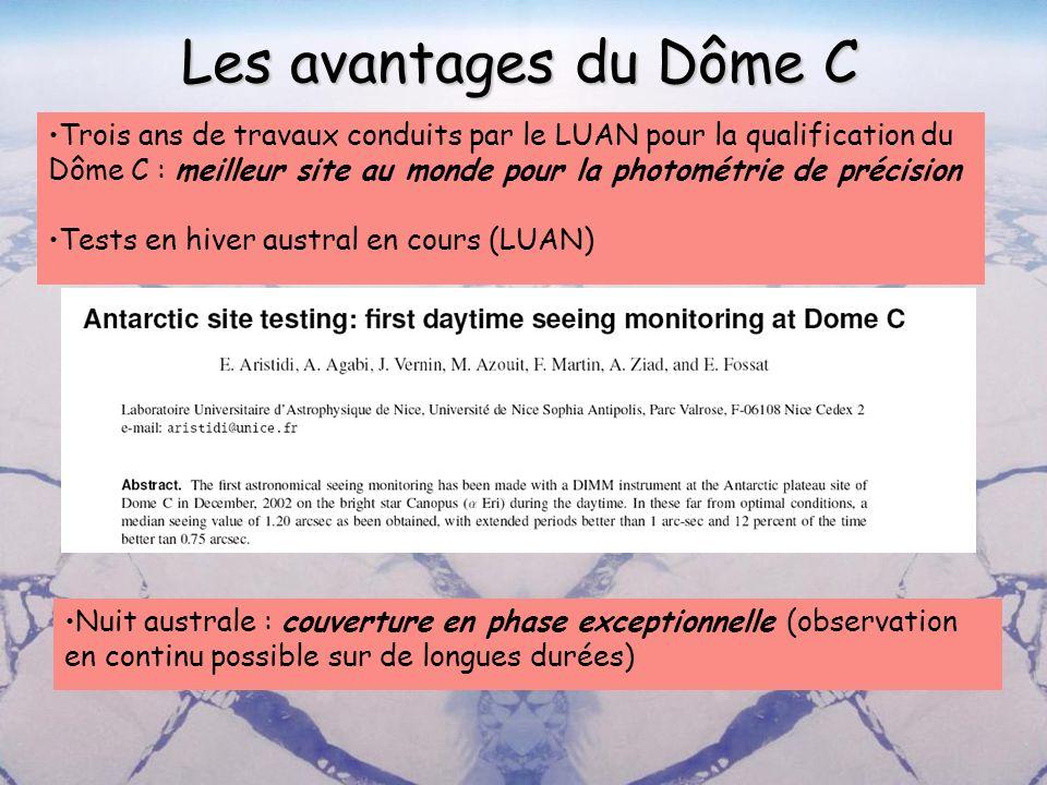 Les avantages du Dôme C Trois ans de travaux conduits par le LUAN pour la qualification du Dôme C : meilleur site au monde pour la photométrie de préc