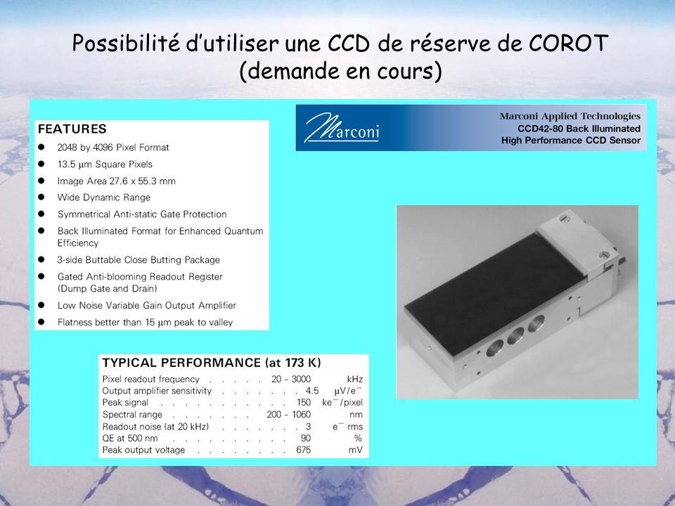 Possibilité dutiliser une CCD de réserve de COROT (demande en cours)