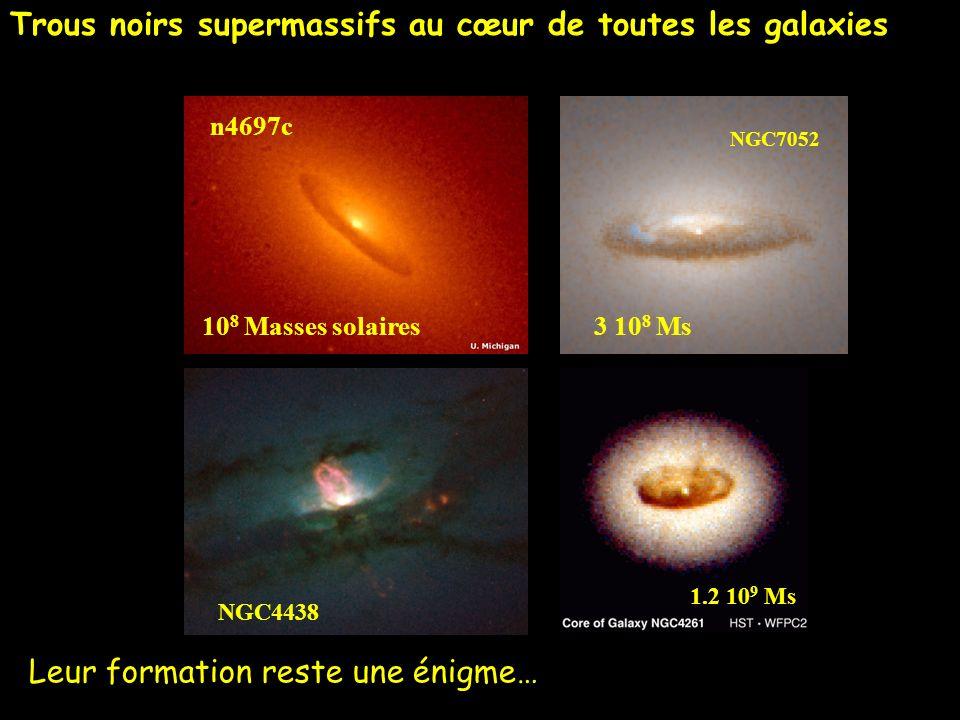 10 8 Masses solaires 1.2 10 9 Ms n4697c NGC4438 NGC7052 3 10 8 Ms Trous noirs supermassifs au cœur de toutes les galaxies Leur formation reste une éni