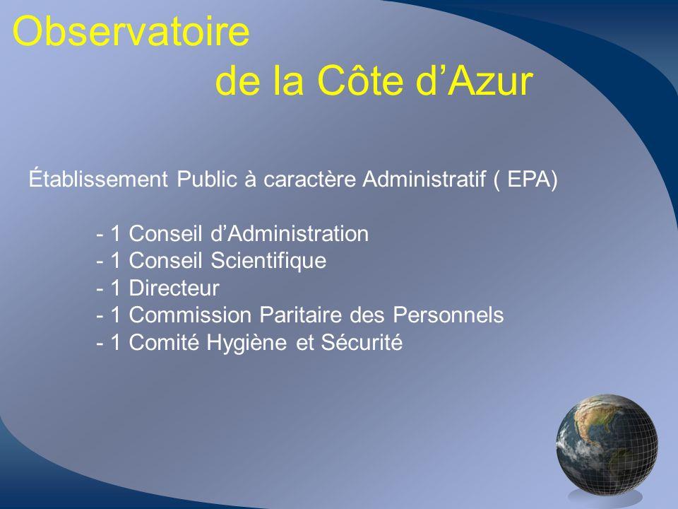 Observatoire de la Côte dAzur Établissement Public à caractère Administratif ( EPA) - 1 Conseil dAdministration - 1 Conseil Scientifique - 1 Directeur