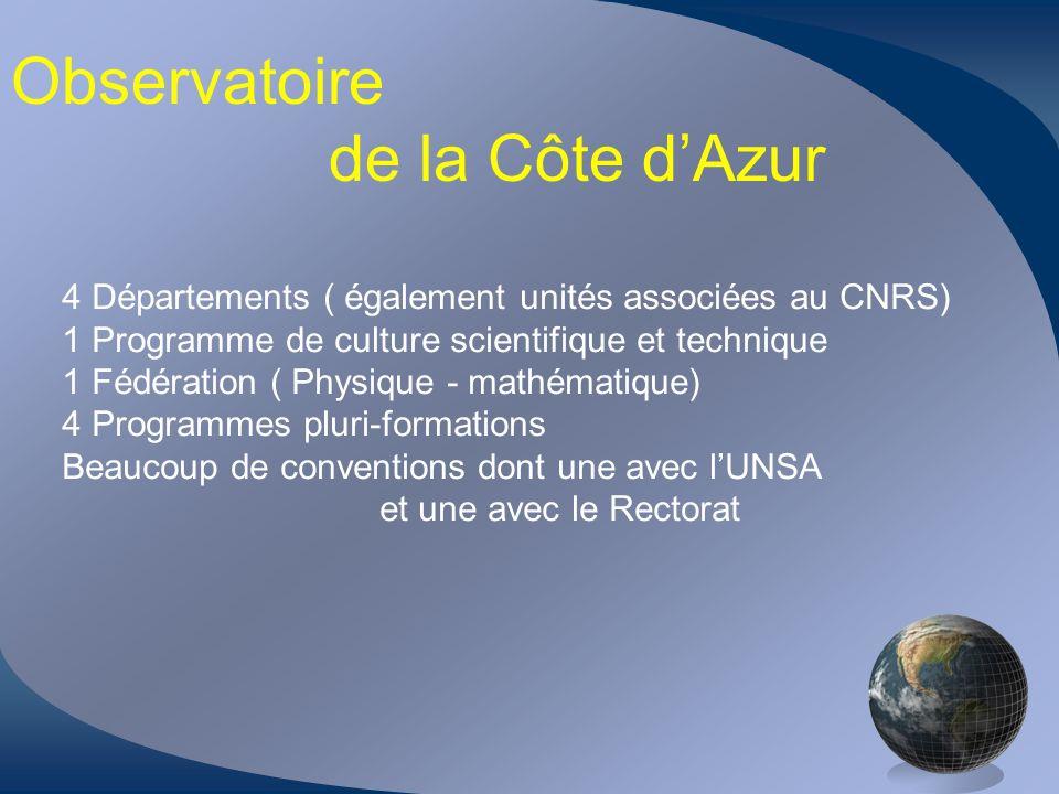 Observatoire de la Côte dAzur 4 Départements ( également unités associées au CNRS) 1 Programme de culture scientifique et technique 1 Fédération ( Phy