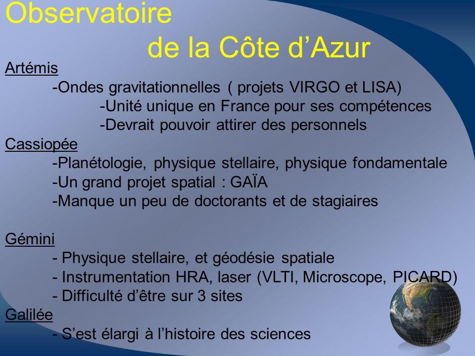 Observatoire de la Côte dAzur Artémis -Ondes gravitationnelles ( projets VIRGO et LISA) -Unité unique en France pour ses compétences -Devrait pouvoir