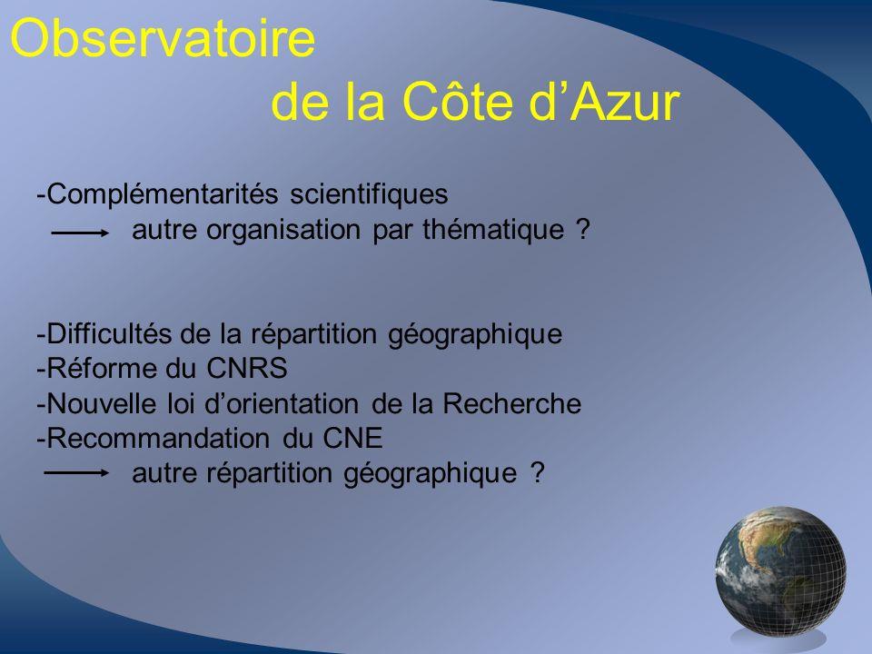Observatoire de la Côte dAzur -Complémentarités scientifiques autre organisation par thématique ? -Difficultés de la répartition géographique -Réforme