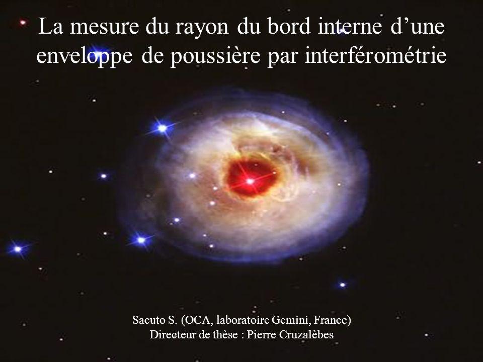 La mesure du rayon du bord interne dune enveloppe de poussière par interférométrie Sacuto S.