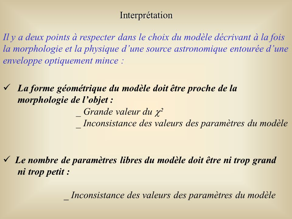 Il y a deux points à respecter dans le choix du modèle décrivant à la fois la morphologie et la physique dune source astronomique entourée dune enveloppe optiquement mince : La forme géométrique du modèle doit être proche de la morphologie de lobjet : _ Grande valeur du ² _ Inconsistance des valeurs des paramètres du modèle Le nombre de paramètres libres du modèle doit être ni trop grand ni trop petit : _ Inconsistance des valeurs des paramètres du modèle Interprétation