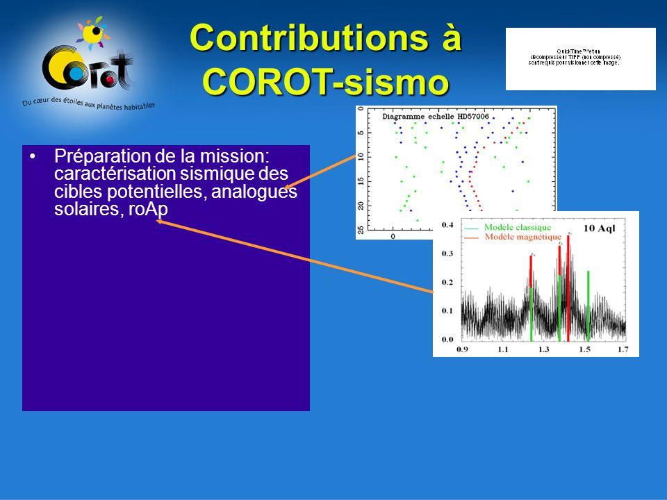 Préparation de la mission: caractérisation sismique des cibles potentielles, analogues solaires, roAp Contributions à COROT-sismo