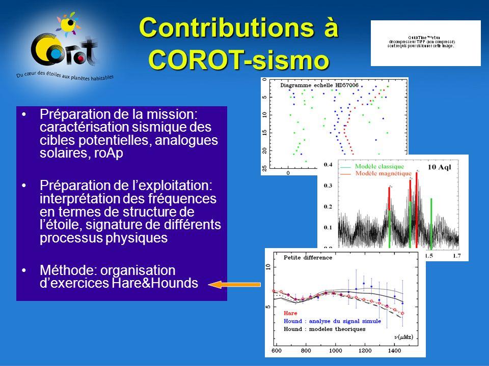 Préparation de la mission: caractérisation sismique des cibles potentielles, analogues solaires, roAp Préparation de lexploitation: interprétation des