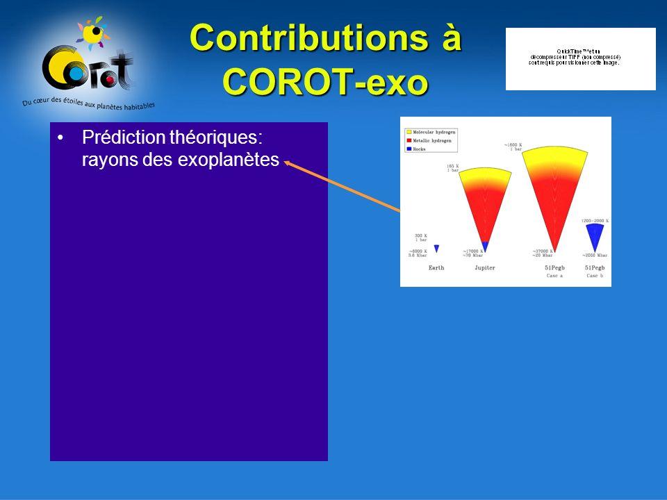 Contributions à COROT-exo Prédiction théoriques: rayons des exoplanètes