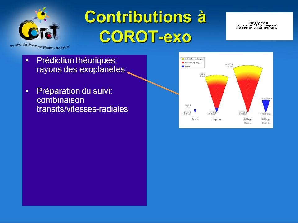 Contributions à COROT-exo Prédiction théoriques: rayons des exoplanètes Préparation du suivi: combinaison transits/vitesses-radiales