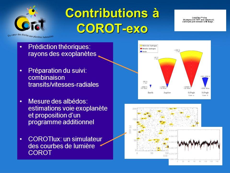 Contributions à COROT-exo Prédiction théoriques: rayons des exoplanètes Préparation du suivi: combinaison transits/vitesses-radiales Mesure des albédos: estimations voie exoplanète et proposition dun programme additionnel COROTlux: un simulateur des courbes de lumière COROT