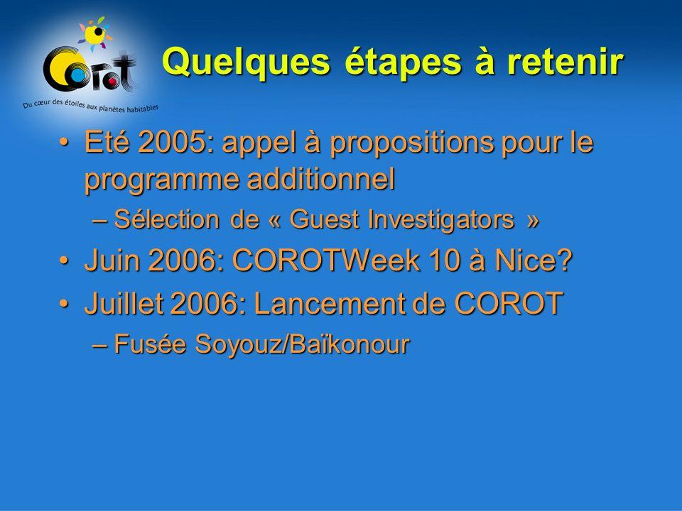 Quelques étapes à retenir Eté 2005: appel à propositions pour le programme additionnelEté 2005: appel à propositions pour le programme additionnel –Sélection de « Guest Investigators » Juin 2006: COROTWeek 10 à Nice?Juin 2006: COROTWeek 10 à Nice.