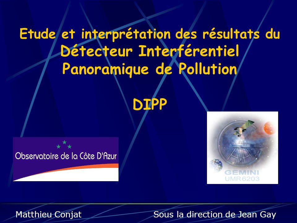 Etude et interprétation des résultats du Détecteur Interférentiel Panoramique de Pollution DIPP Matthieu Conjat Sous la direction de Jean Gay