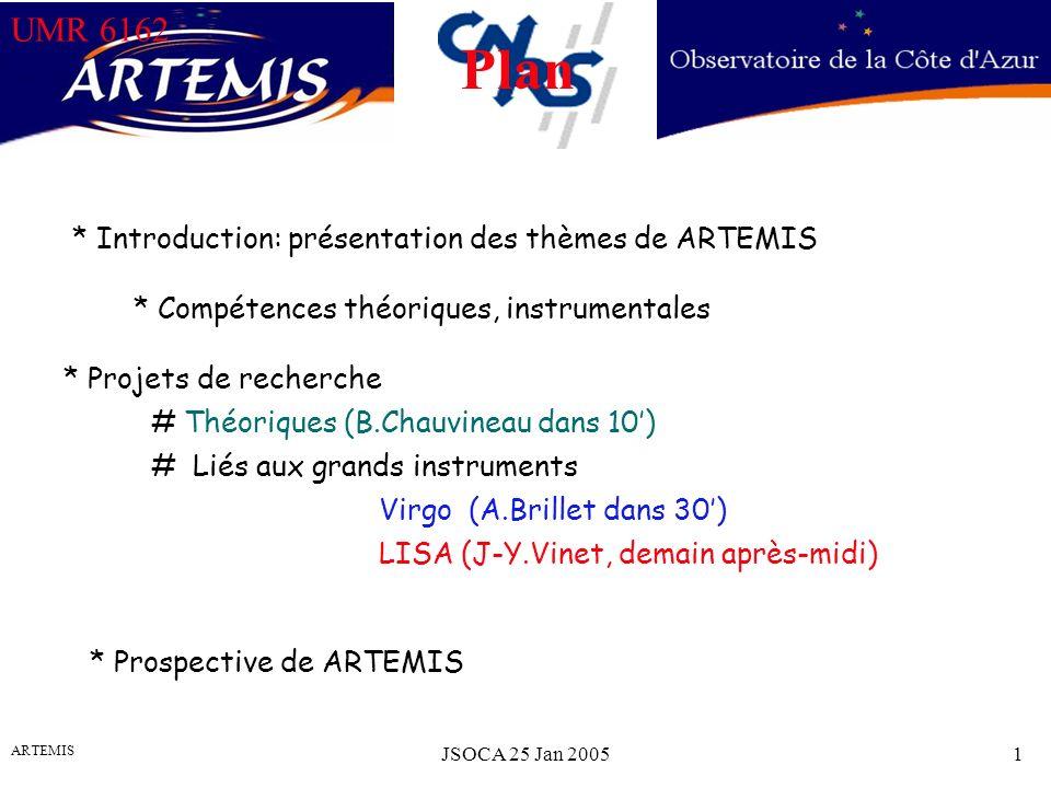 UMR 6162 ARTEMIS JSOCA 25 Jan 20051 UMR 6162 * Introduction: présentation des thèmes de ARTEMIS Plan * Compétences théoriques, instrumentales * Projets de recherche # Théoriques (B.Chauvineau dans 10) # Liés aux grands instruments Virgo (A.Brillet dans 30) LISA (J-Y.Vinet, demain après-midi) * Prospective de ARTEMIS