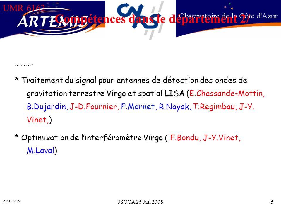 UMR 6162 ARTEMIS JSOCA 25 Jan 20055 Compétences dans le département 2/ ……….