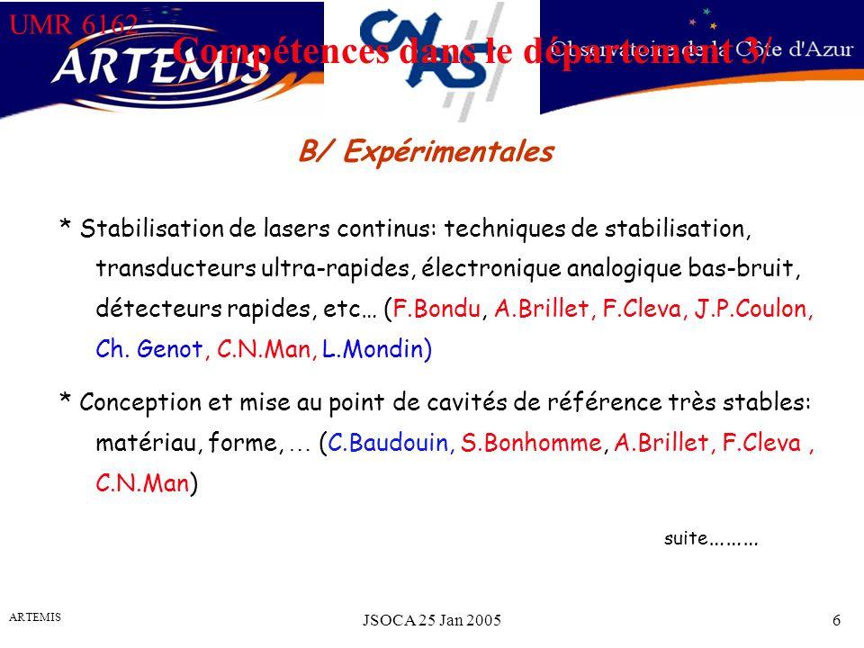 UMR 6162 ARTEMIS JSOCA 25 Jan 20056 Compétences dans le département 3/ * Stabilisation de lasers continus: techniques de stabilisation, transducteurs ultra-rapides, électronique analogique bas-bruit, détecteurs rapides, etc… (F.Bondu, A.Brillet, F.Cleva, J.P.Coulon, Ch.