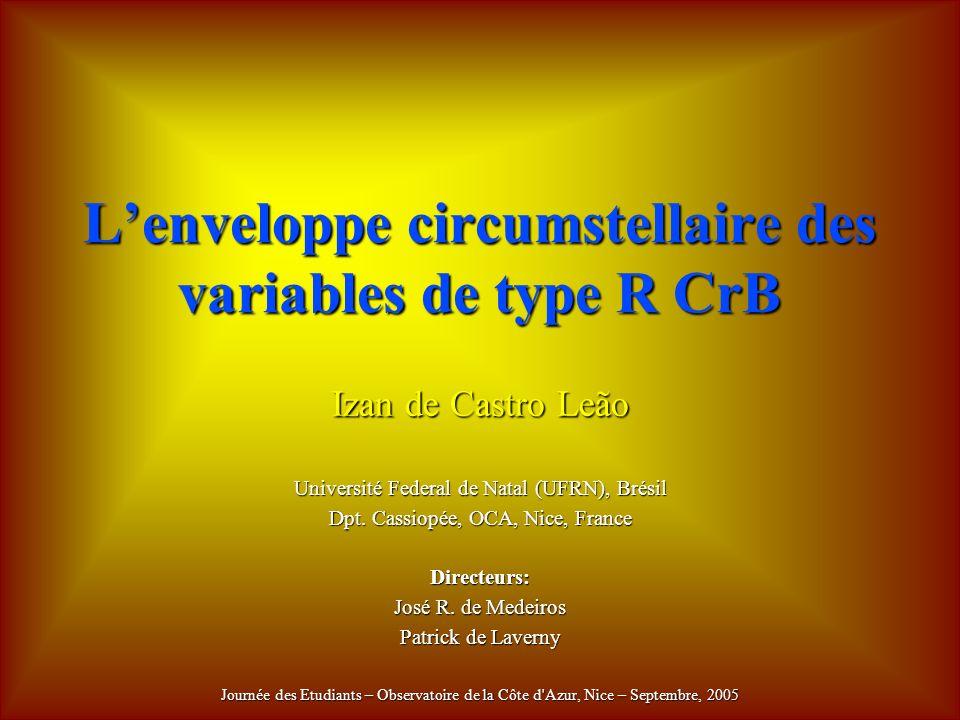 Lenveloppe circumstellaire des variables de type R CrB Izan de Castro Leão Université Federal de Natal (UFRN), Brésil Dpt.