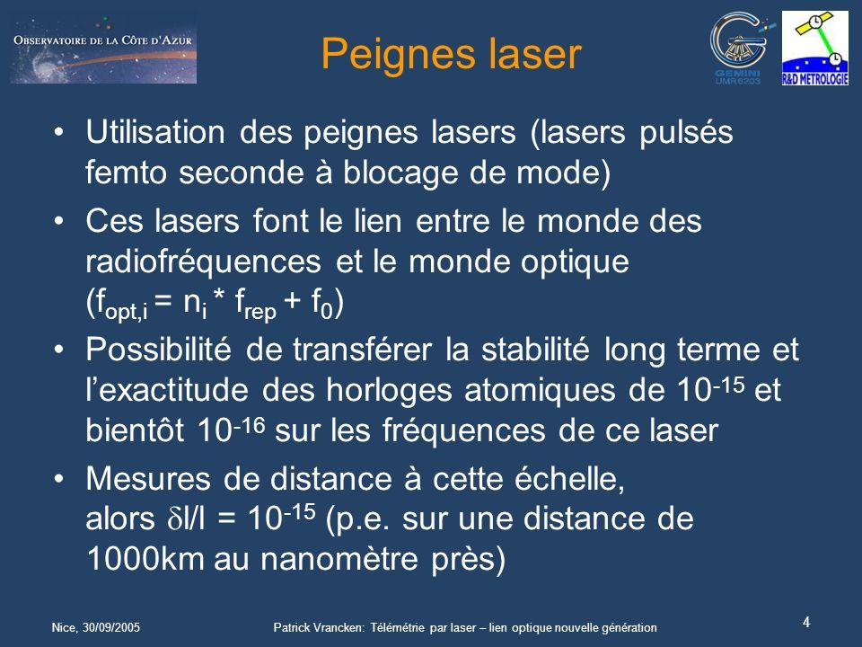 Nice, 30/09/2005Patrick Vrancken: Télémétrie par laser – lien optique nouvelle génération 4 Peignes laser Utilisation des peignes lasers (lasers pulsés femto seconde à blocage de mode) Ces lasers font le lien entre le monde des radiofréquences et le monde optique (f opt,i = n i * f rep + f 0 ) Possibilité de transférer la stabilité long terme et lexactitude des horloges atomiques de 10 -15 et bientôt 10 -16 sur les fréquences de ce laser Mesures de distance à cette échelle, alors l/l = 10 -15 (p.e.