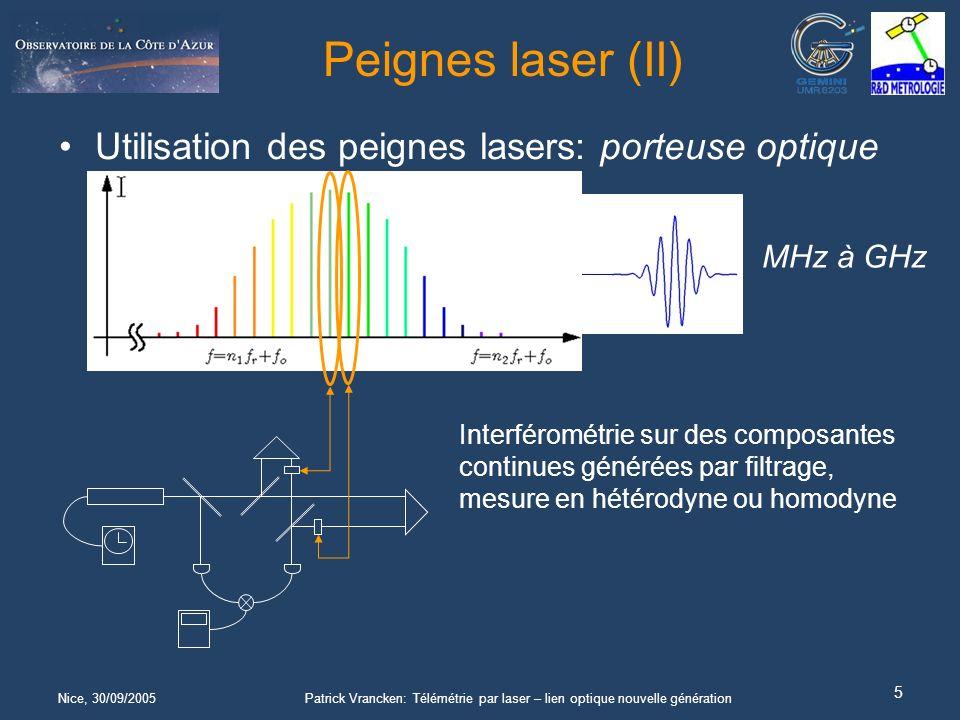 Nice, 30/09/2005Patrick Vrancken: Télémétrie par laser – lien optique nouvelle génération 5 Peignes laser (II) Utilisation des peignes lasers: porteuse optique 1/f rep = MHz à GHz Interférométrie sur des composantes continues générées par filtrage, mesure en hétérodyne ou homodyne